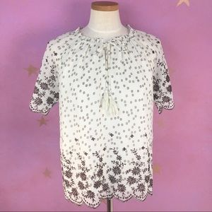 SKIES ARE BLUE CAELI EMBROIDERED BLOUSE SIZE SMALL